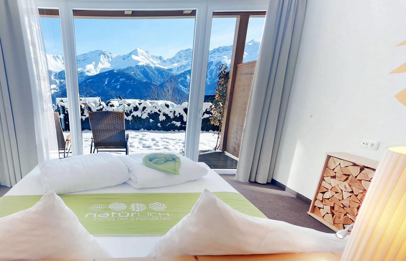 Komfortzimmer EG - Panoramabett mit Blick über Fiss!