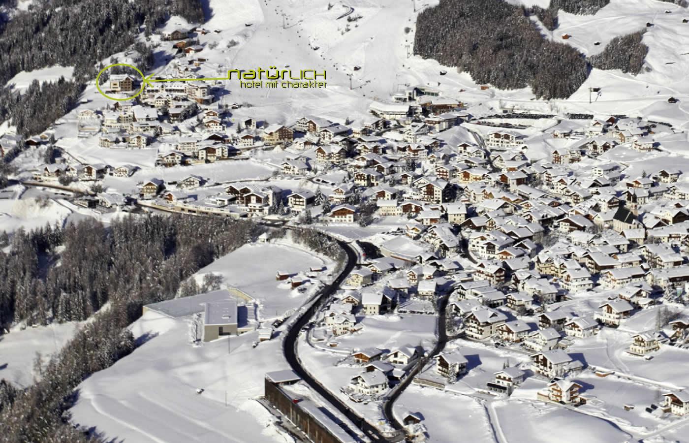 Luftaufnahme von Fiss in Tirol, Österreich
